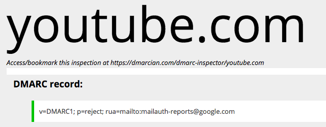youtube.com DMARC inspector result